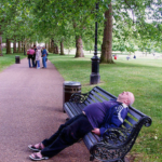 Older man sleeping on a park bench may be a victim of one of the common sleeping disorders.