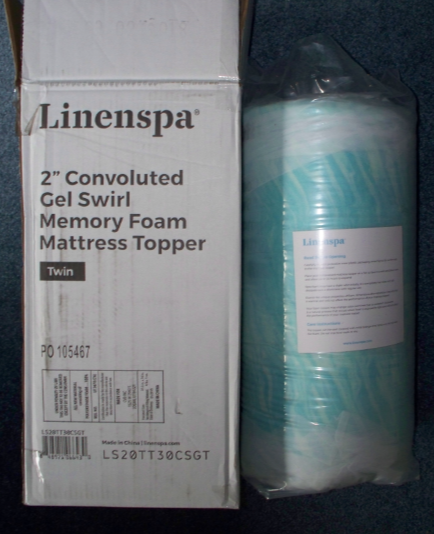 2 inch thick Linenspa  convoluted gel swirl memory foam mattress topper Twin Size box and vacuum packed topper.