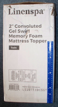Box for the Twin Size 2 Inch thick Linenspa Convoluted Gel Swirl Memory Foam Mattress Topper