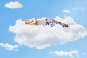 Sleeping on a cloud.