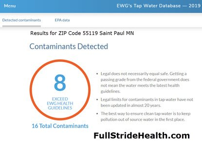 EWG 2019 Data Base water contaminants Saint Paul MN 55119. FullStrideHealth.com