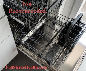 The dishwasher is not recommended for cleaning the Pur water pitcher. FullStrideHealth.com