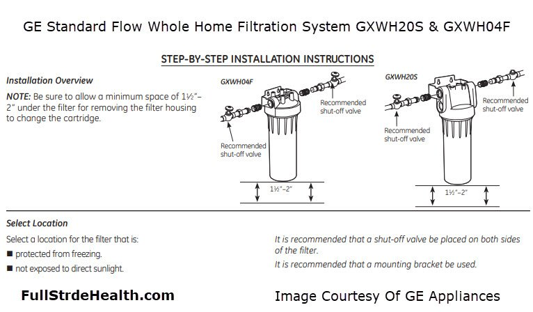 GE Standard Flow Whole Home Filtration System GXWH20S & GXWH04F
