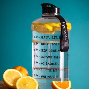 Hydromate Motivational Water Bottle can help you get all of the benefits of drinking water. FullStrideHealth