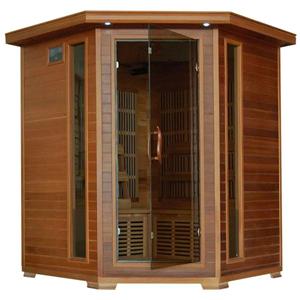 Radiant Saunas BSA1320 4-Person Cedar Corner Infrared Sauna with 10 Carbon Heaters